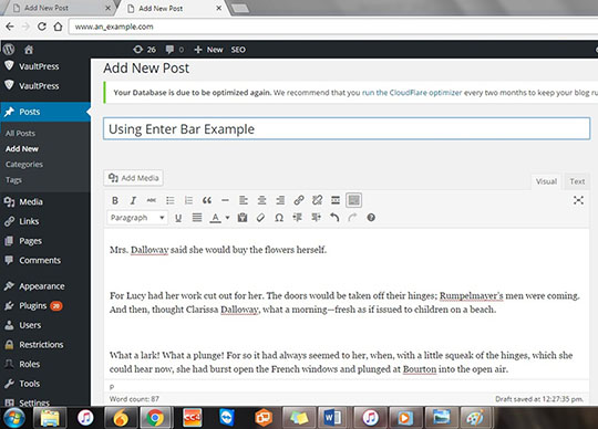 Example 7: Extra line spaces in Wordpress