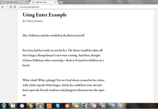 Example 8: What extra line spacing looks like when it is published on Wordpress